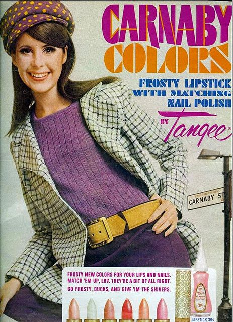 Mod •~• Carnaby Colors by Tangee advertisement, 1967 (influenced by Carnaby Street, London)