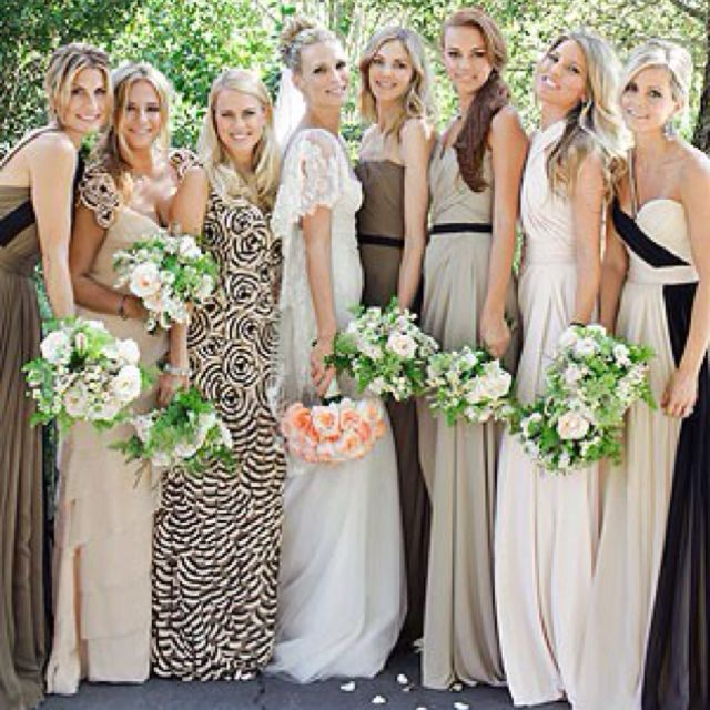 Obsessed With Mixed Neutrals And Non Matching Bridesmaids Dresses