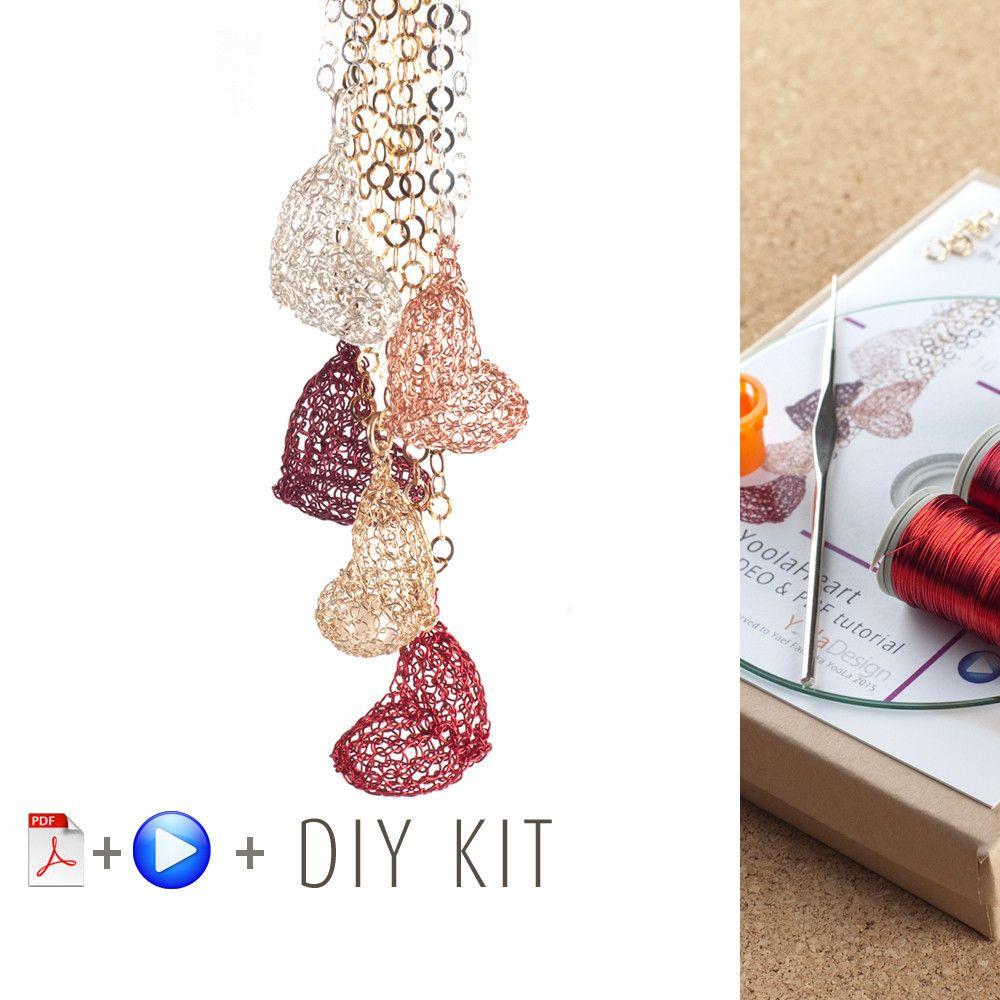 How to wire crochet a volume heart - DIY kit | Wire crochet, Jewelry ...