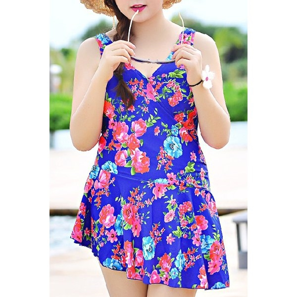 23.22$  Watch now - http://di144.justgood.pw/go.php?t=177788902 - Cute Sleeveless V-NeckFloral Print Women's Swimsuit