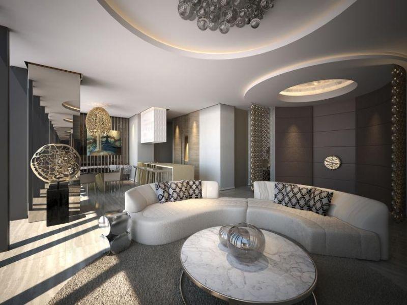 Moderne Wohnzimmer - halbrunde weiße Wohnlandschaft - wohnzimmer trends 2015