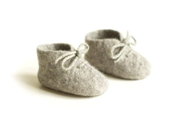 felted baby booties / PURE WOOL / eco friendly gift / by Patricija