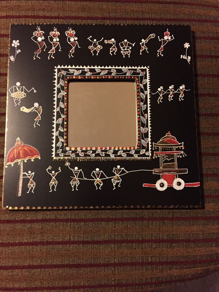 Image result for Free to use painting of a Warli  Mirror