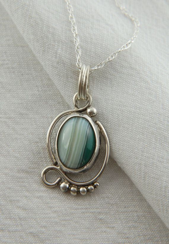 Green Banded Agate Pendant In Sterling Silver Artisan