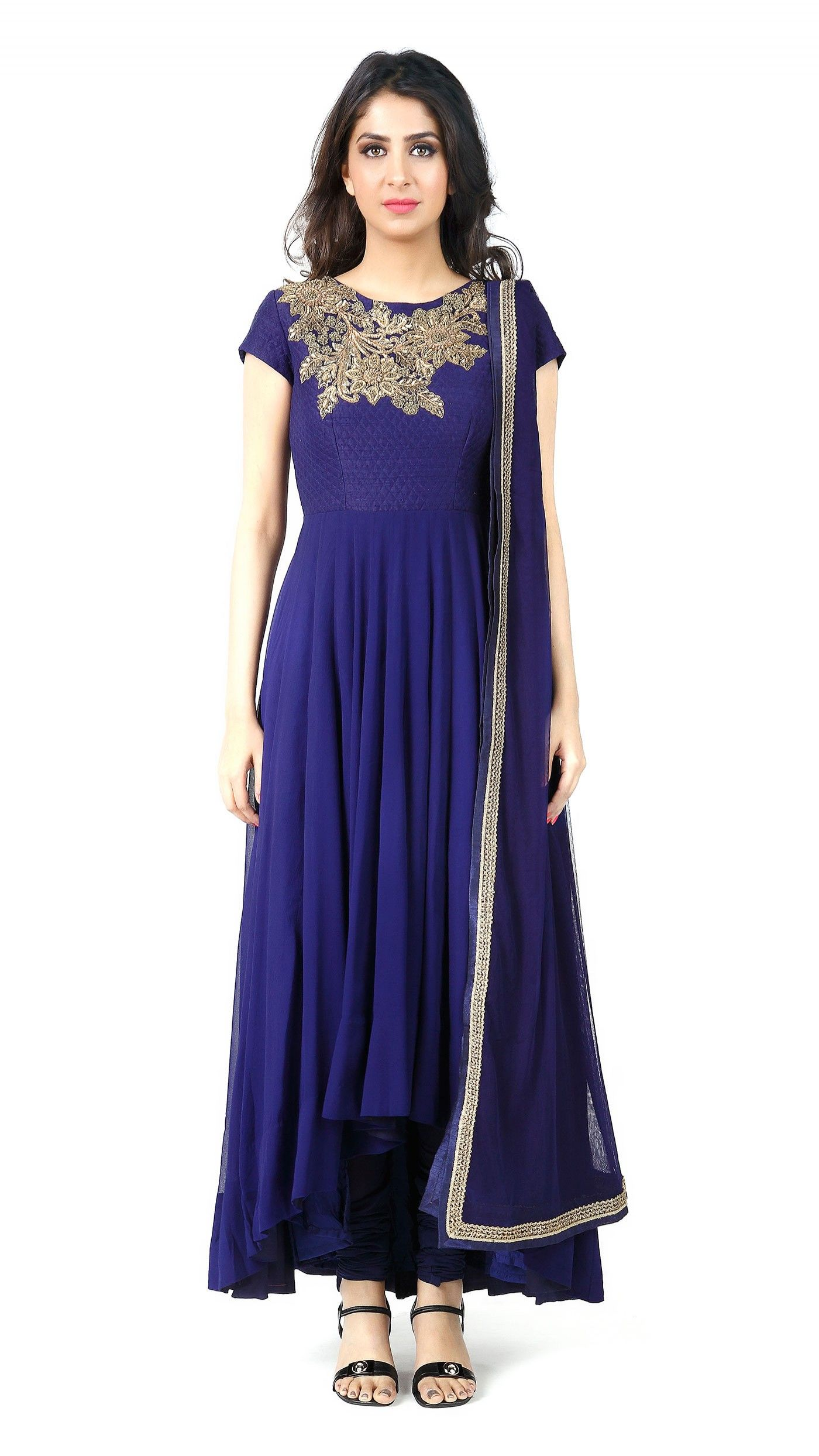 Buy aneesh agarwaalus royal blue georgette anarkali online jiva