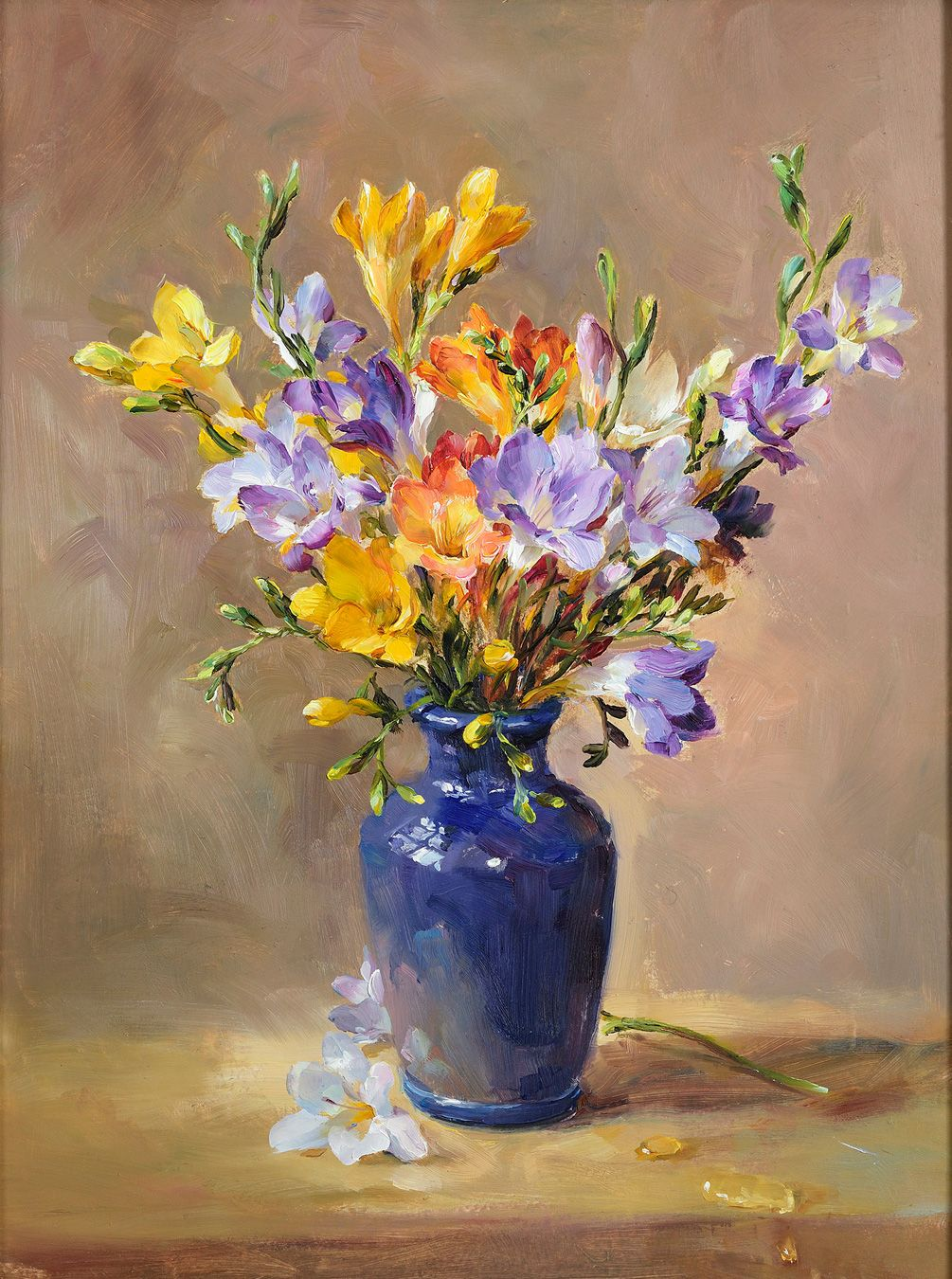 Still Life of Freesias in a Blue Vase by Anne Cotterill
