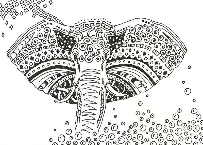 elephant zentangle coloring pages gallery