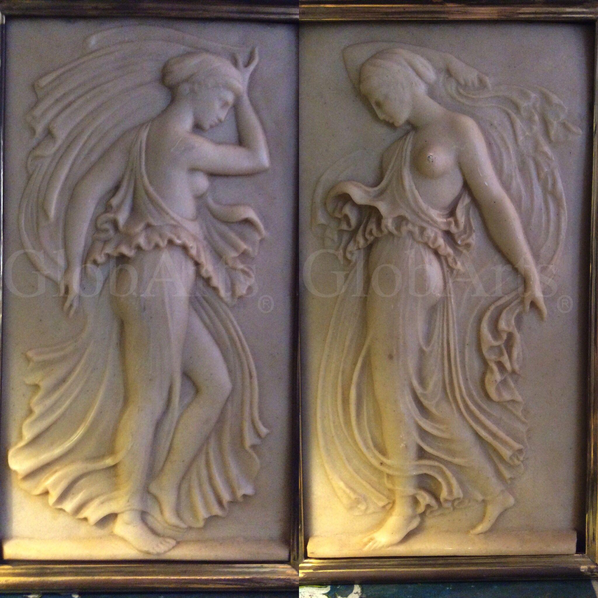 PAREJA DE PANELES DE MARMOLINA REPRESENTANDO DOS NINFAS Ns-00197 y 00198-Catálogo #GlobArts Pareja de paneles de marmolina representando dos ninfas. Siglo XX. Medidas: 44 cm. de alto x 25 cm. de ancho Precio: 500€ / 600€ (IVA incluido) la pareja http://globarts.com/tienda/escultura/pareja-de-paneles-de-marmolina-representando-dos-ninfas-siglo-xx-2/