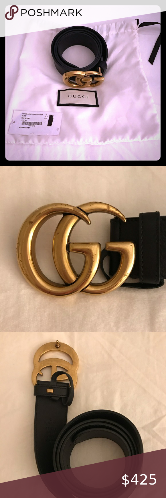 Authentic Gucci Belt Gucci Belt Black Leather With Brushed Gold Hardware Size 90 Excellent Condition Worn Less Authentic Gucci Belt Gucci Belt Belt