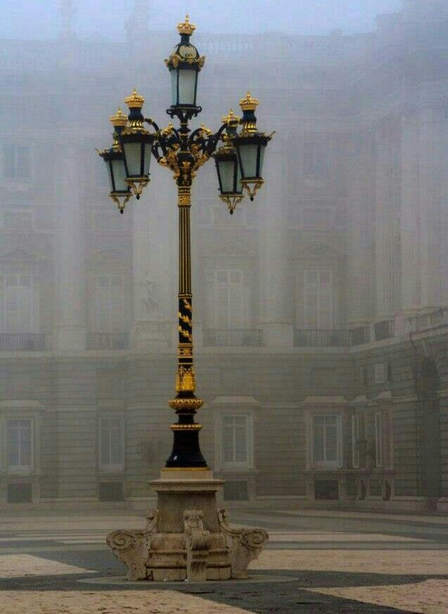 Streetlight at the Armory Square of the Madrid Royal Palace, Spain