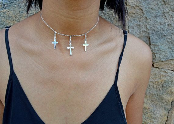 Sterling Silver Cross Charm Necklace. #sterlingsilvernecklace #sterlingsilvercharmnecklace #charmnecklace #crosscharmnecklace #collarchoker #etsyshop #etsy #etsyjewelry #shortsilvernecklace #layerednecklace #crossnecklace #giftforher