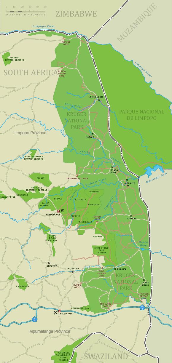 Kruger National Park Map   Detailed Map of Kruger Park   South africa  travel, National parks map, Kruger national park