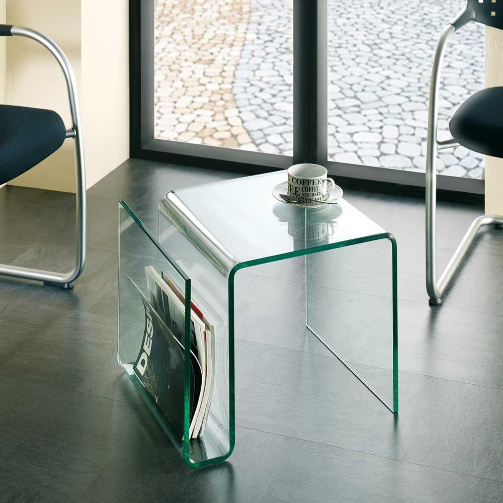 Beistelltisch aus Glas mit Zeitungsablage Jetzt bestellen unter ...