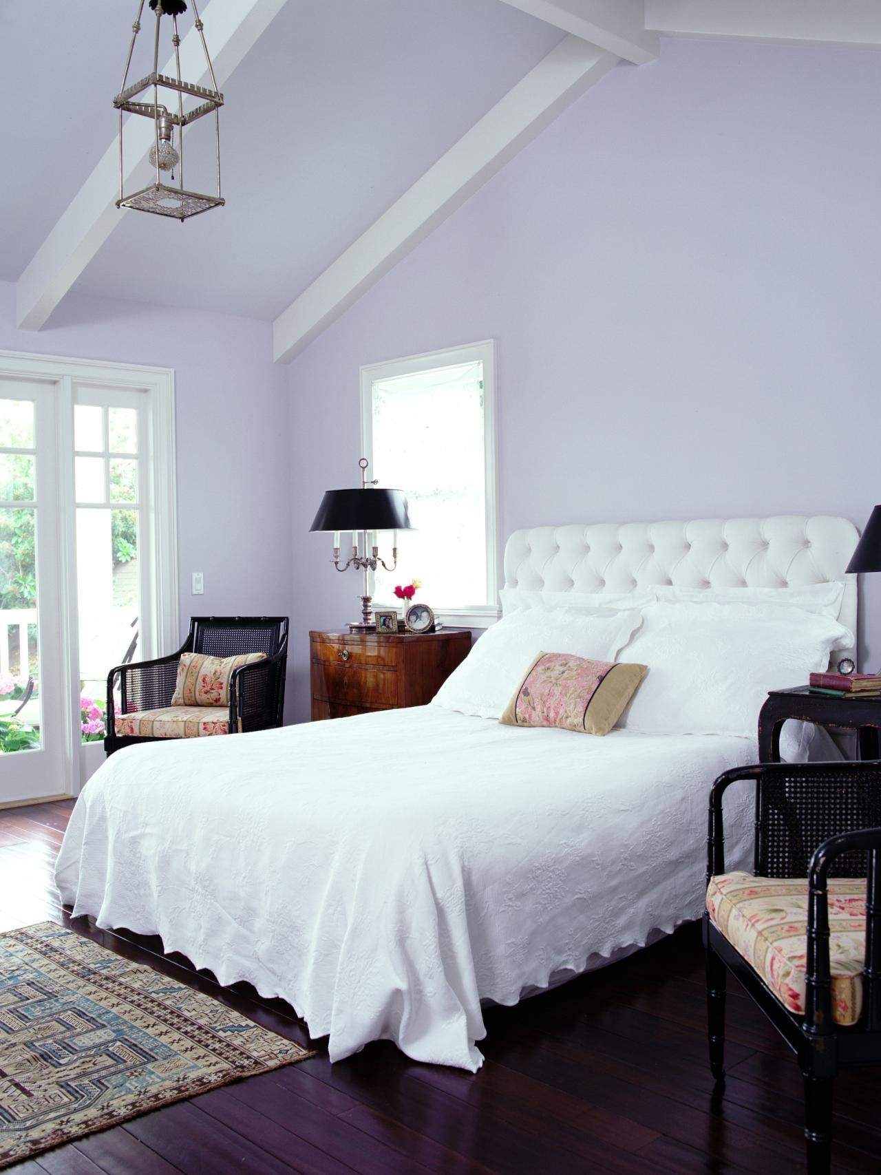 this spacious transitional bedroom pairs soft lavender walls with rh pinterest com lavender walls bedroom ideas lavender bedroom wall paint