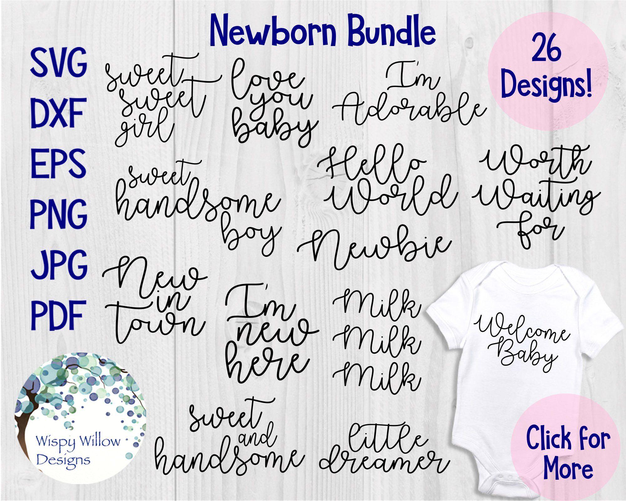 Newborn Baby Bundle Svg Dxf Png Jpeg Eps Infant Etsy Baby Svg Svg Baby Bundles