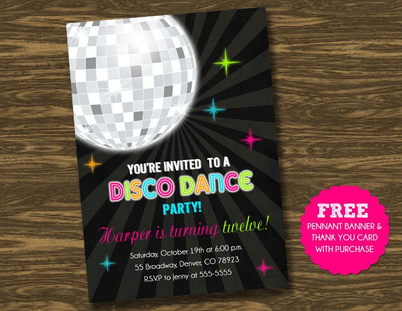 disco dance party anniversaire invitation banni re par sweetgumdrop 15 00 anniversaire. Black Bedroom Furniture Sets. Home Design Ideas