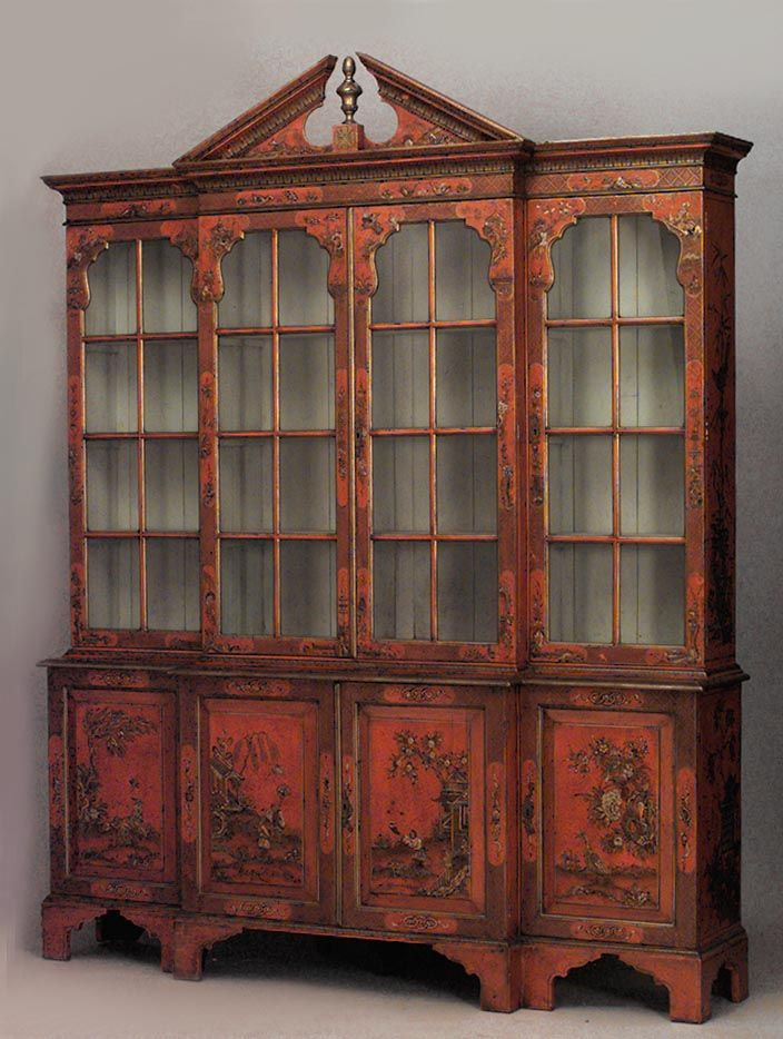 English Georgian style red lacquered Chinoiserie design breakfront cabinet  with pediment top (19th Cent cabinet - English Georgian Style Red Lacquered Chinoiserie Design Breakfront