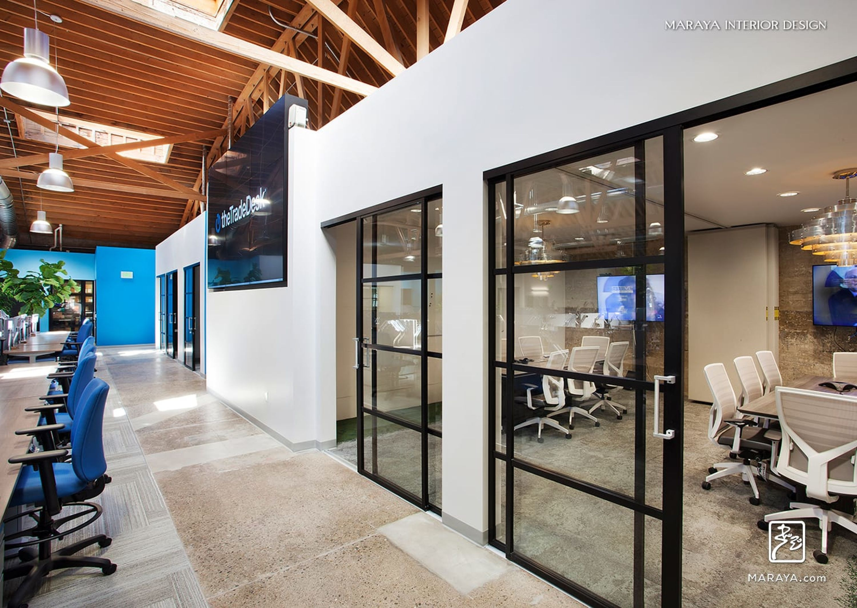 The Trade Desk Black Sliding Glass Doors Modern Conference Rooms