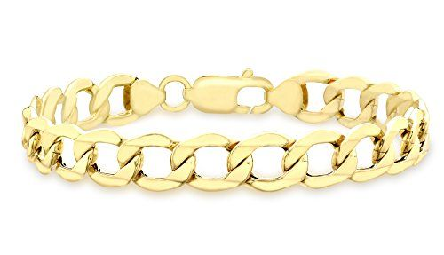 Carissima Gold Unisex 9 ct Yellow Gold Six Sided Curb Chain Bracelet daEOzid