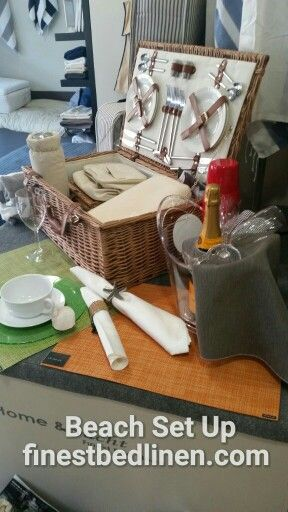 Beach picnic setup. Create the perfect day  Www.finestbedlinen.com