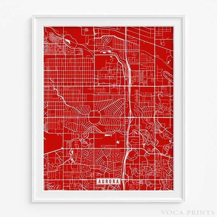Aurora colorado street map print Modern and Walls