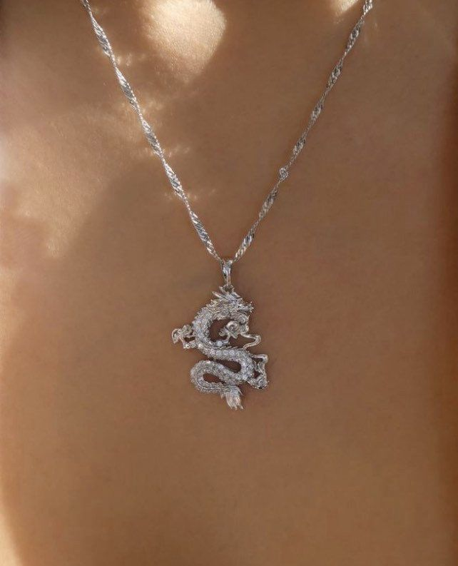 SILVER Dragon necklace , 18k gold plated dragon pe