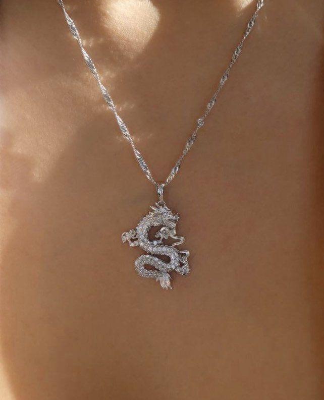SILVER Dragon necklace , 18k gold plated dragon pendant , dragon charm , dragon jewelry ,fantasy nec – Accessories