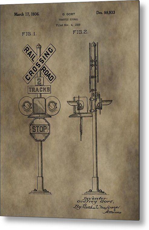 Railroad Crossing Patent Metal Print By Dan Sproul- LOBBY