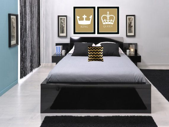 King And Queen Crown Wall Decor king and queen art prints, his and her crowns, modern wall decor