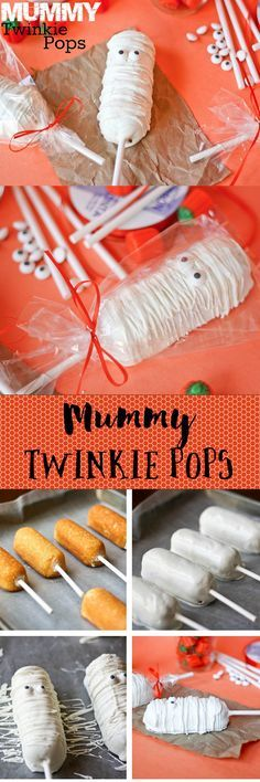 Mummy Twinkie Pops -- so easy, so adorable Perfect for Halloween - halloween snack ideas