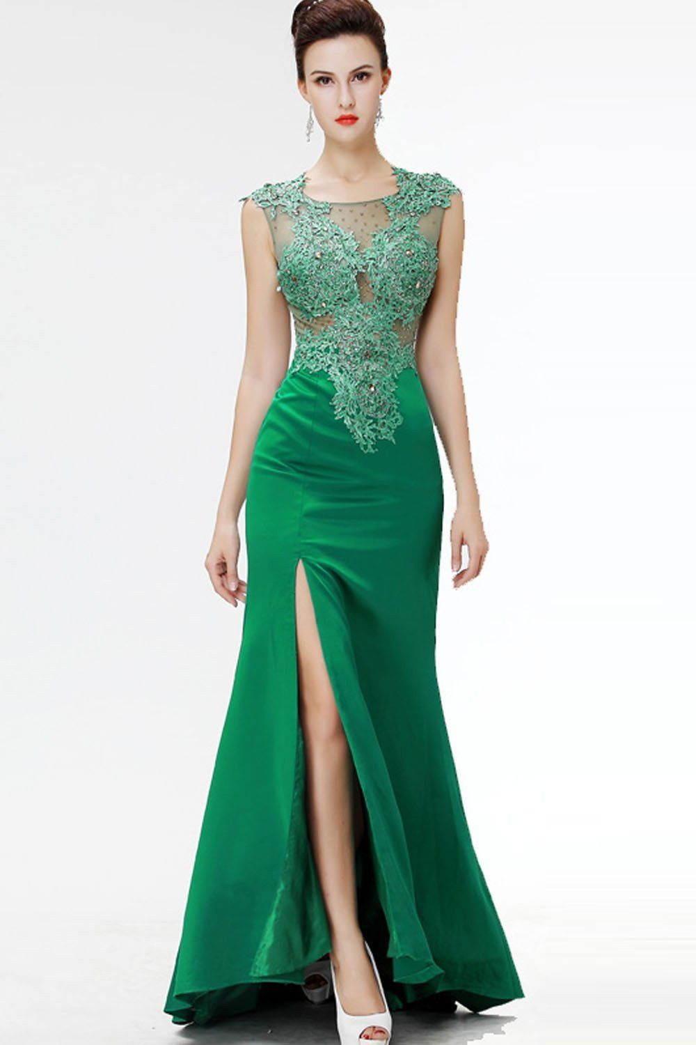 Green lace beaded see through mermaid sexy prom dresses ed