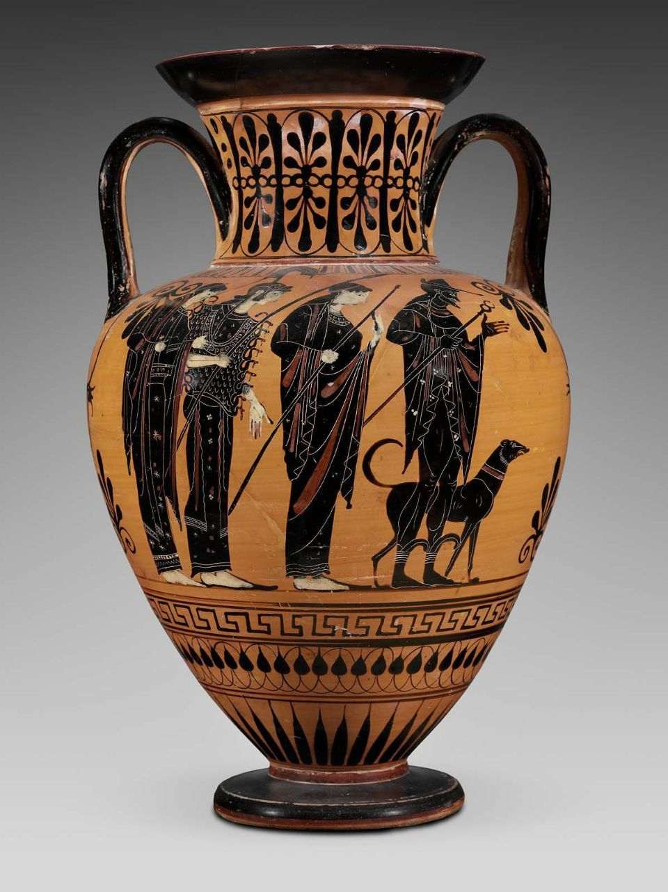 Two-handled jar (amphora) depicting the Judgment of Paris and the recovery of Helen Greek, Late Archaic Period, about 510–500 B.C. Side A: Judgment of Paris. Hermes, with a dog walking beside him, leads Hera, holding a long scepter, Athena, fully-armed, and Aphrodite.