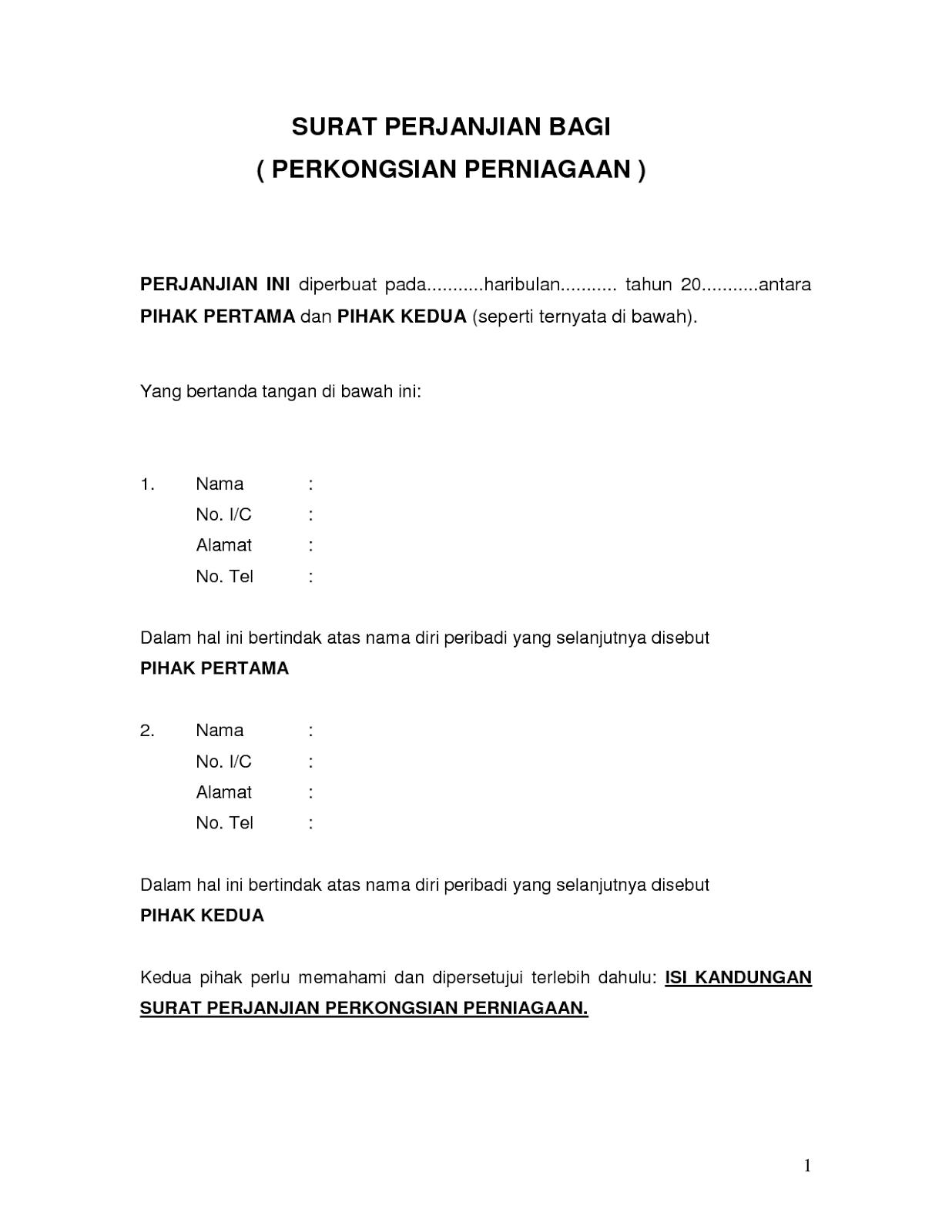 Contoh Surat Perjanjian Perkongsian Perniagaan Pdf Free