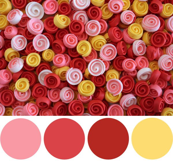 Color Palette Inspiration: Frosting Ribbon Roses #palette #red #colorinspiration