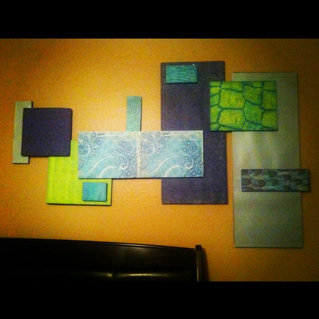 Copied the styrofoam & scrapbook paper idea and made some wall art ...
