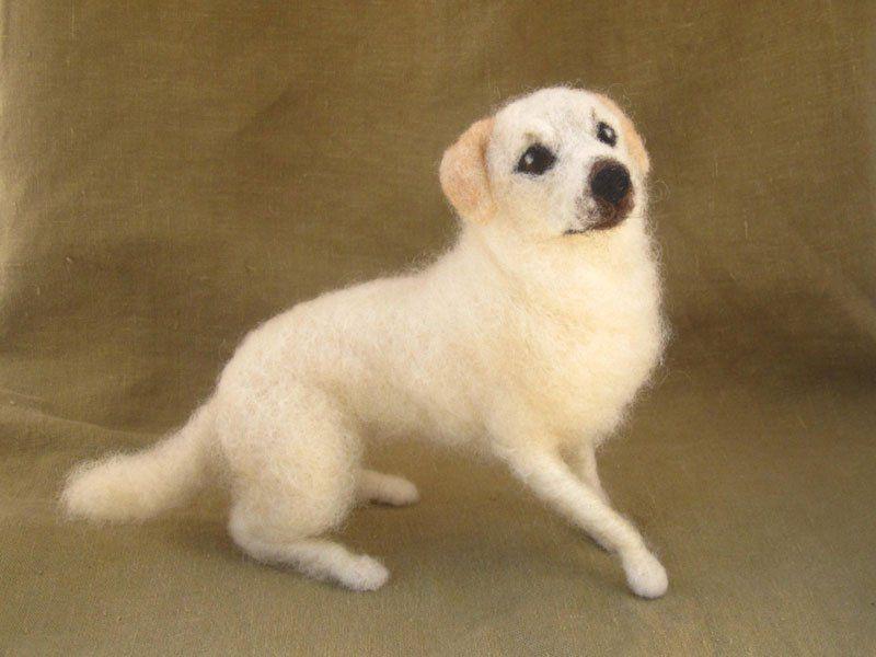 Needle felted dog.The amazing-needle-felted-animals-of-hannah-stiles.