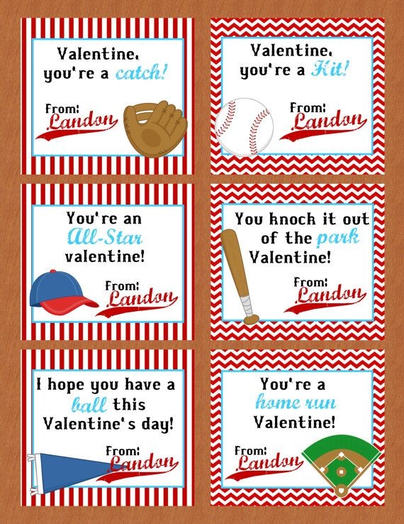 Personalized Baseball Valentine Class Cards For By