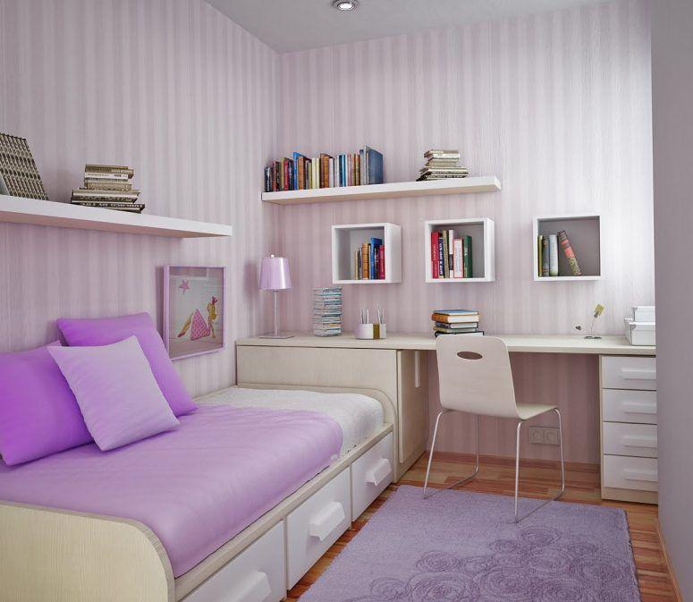 Girl Study Room Combine With Small Bedroom Design Plus Purple Pillow Wooden Floor Soft Purlpe Rugs White Small Room Bedroom Bedroom Layouts Modern Kids Bedroom