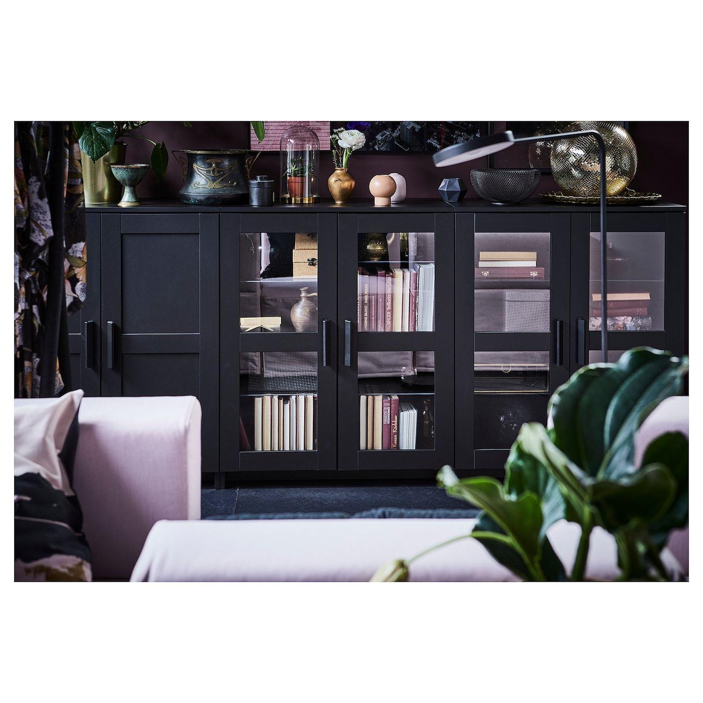 Brimnes Black Cabinet With Doors 78x95 Cm Ikea In 2020 Cabinet Doors Glass Cabinet Doors Trendy Living Rooms
