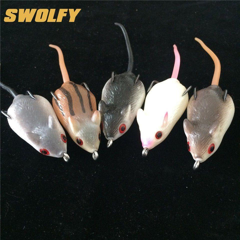 5PCS Rat Soft Rubber Mouse Fishing Lures Baits Top Water Tackle Hooks Bass Bait