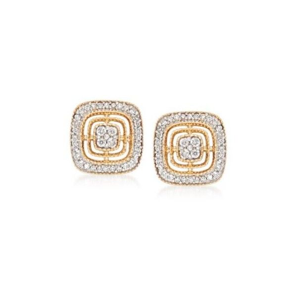Ross Simons Diamond Square Earrings In 14kt Yellow Gold 20 Ct T W 399 Liked On Polyvore Featuring Jewelry Earring