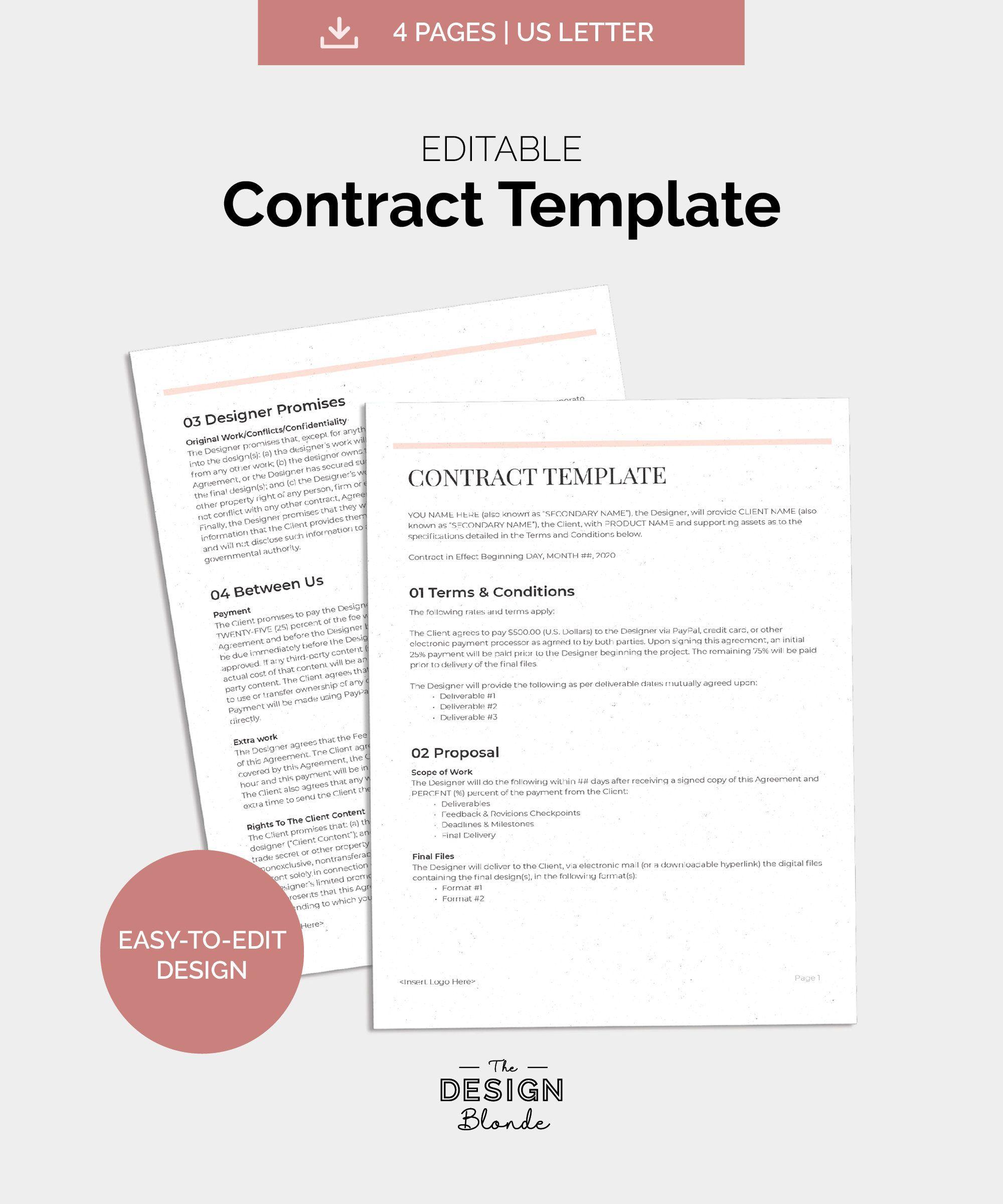 Freelance Contract Template Graphic Designer Client Contract Etsy Contract Template Freelance Contract Client Contracts