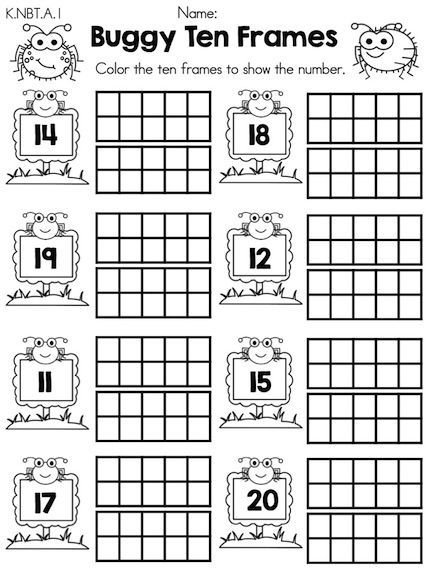 buggy ten frames teen numbers part of the spring kindergarten math  buggy ten frames teen numbers part of the spring kindergarten math worksheets  common core aligned