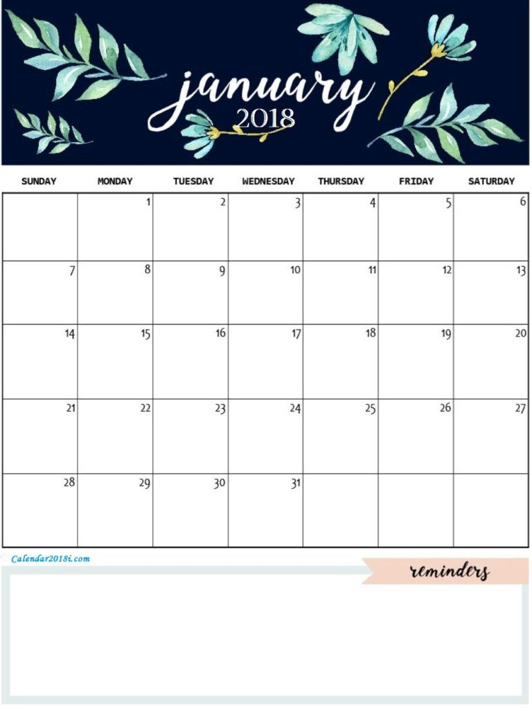 Cute January 2018 Calendar Template ➖Calebders Calendar