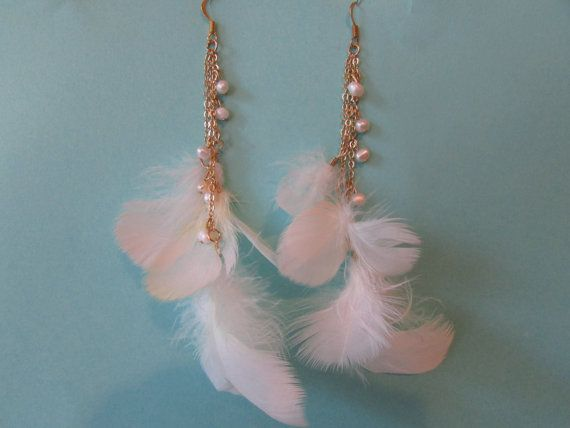 White Feather & Freshwater Pearl Earrings, Cruelty Free Cockatoo Feathers, Beachy Jewelry,Ocean Inspired, Sea Inspired Jewelry
