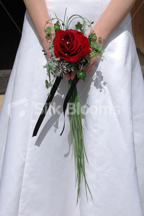 Single Burgundy Red Velvet Rose Wedding Flowers Wand