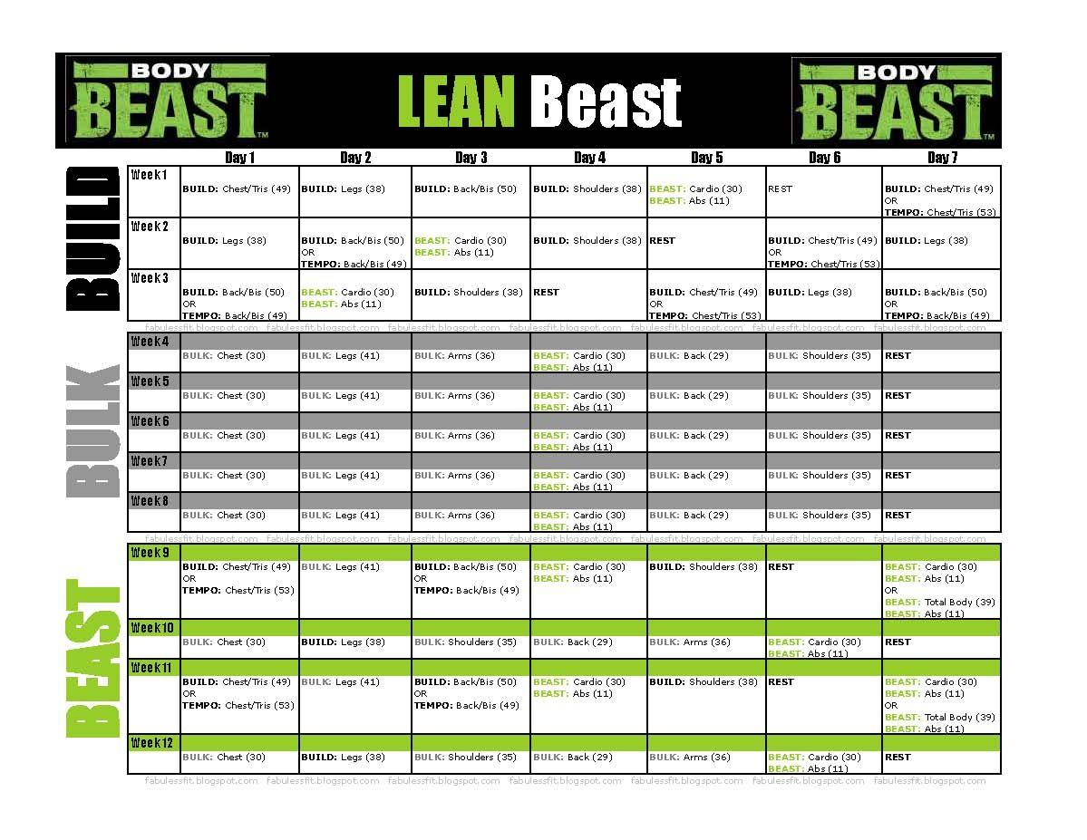 BodyBeastScheduleLEANBeastjpg 1199 927 – Beast Workout Sheet