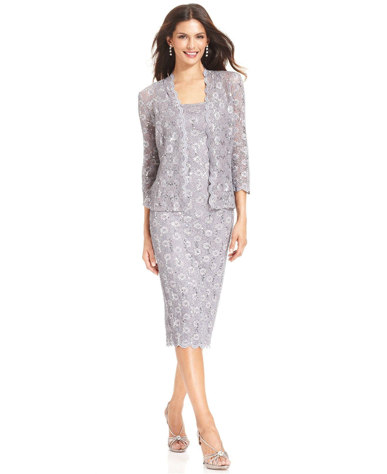Alex Evenings Petite Sequin Lace Dress and Jacket - Dresses ...