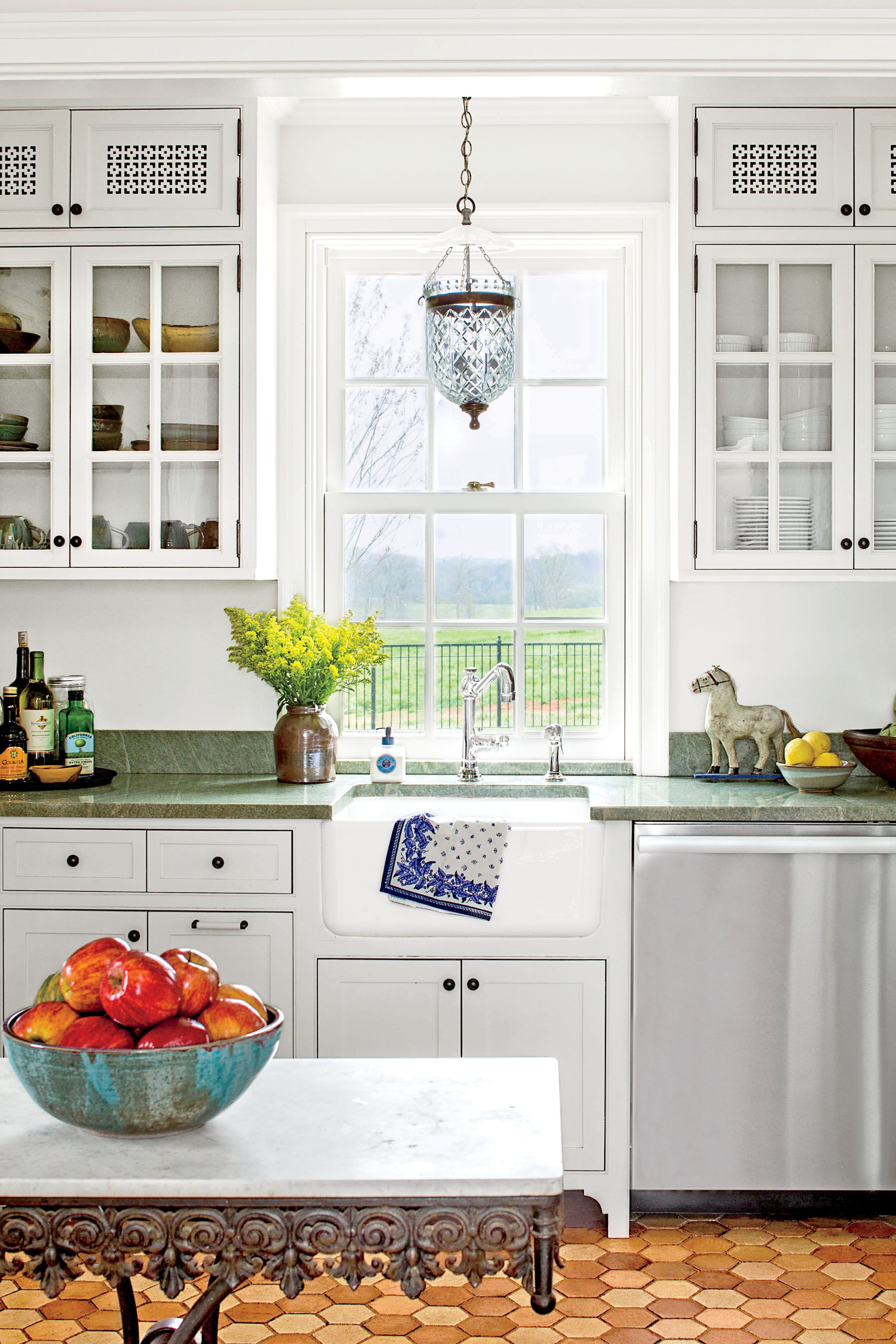 White kitchen with green soapstone counters good ideas for small