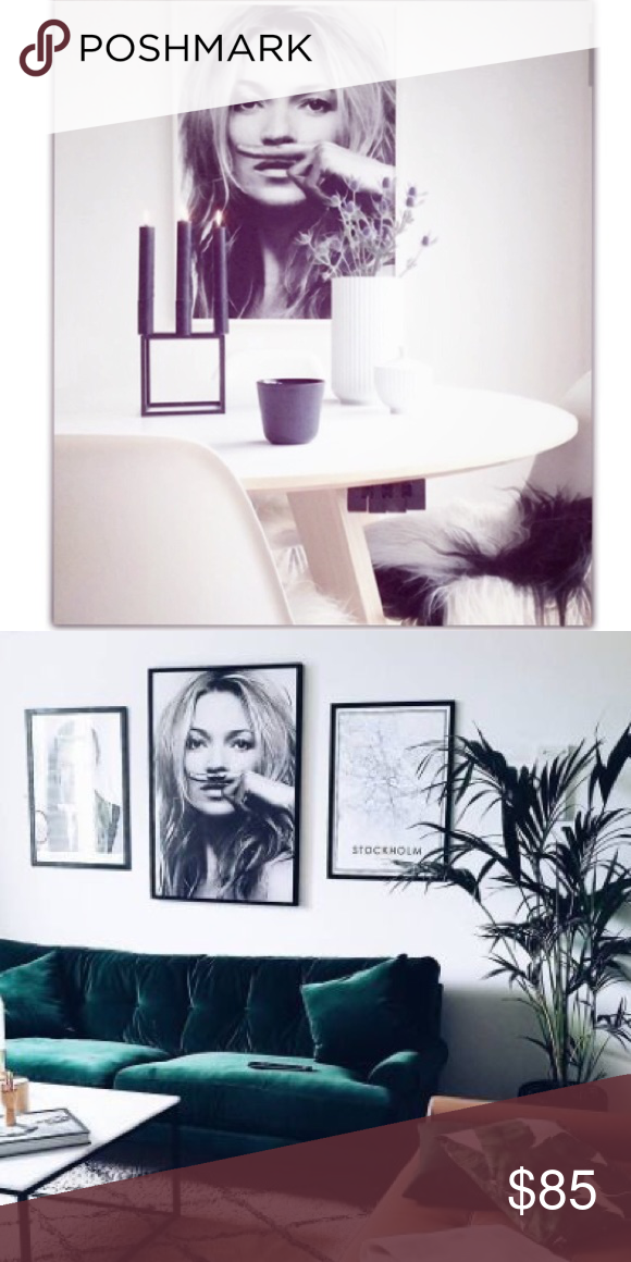 Kate MOSS framed wall art picture White Frame Kate Moss Supreme Wall ...